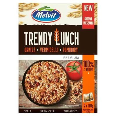 Melvit Premium Trendy Lunch Dinkel, Fadennudeln, Tomaten. Fertigmischung 100%, 400 g (4 Beutel)