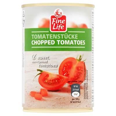 Fine Life Geschälte Tomaten in Tomatensaft geschnitten 400 g