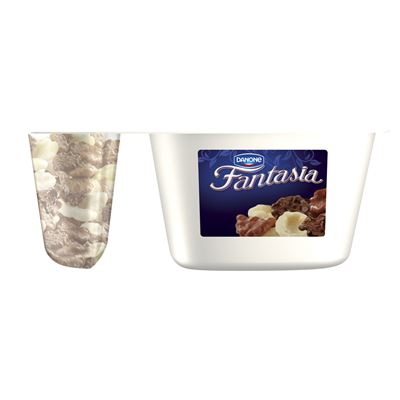 Danone Fantasia Cremejoghurt mit Flocken in Schokolade 106 g 12 Stueck