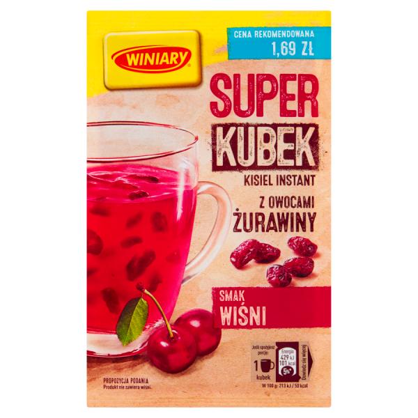 Winiary Super Kubek Kisiel instant smak wiśni z owocami żurawiny 27 g