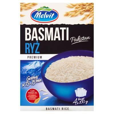Melvit Premium Reis Basmati Pakistan 400 g (4 Beutel)