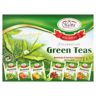 Malwa Celebration Green Teas Kolekcja 6 herbat zielonych 60 g (30 Beutel)