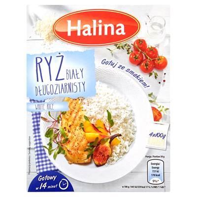 Halina Langkörniger weißer Reis 400 g (4 Stück)