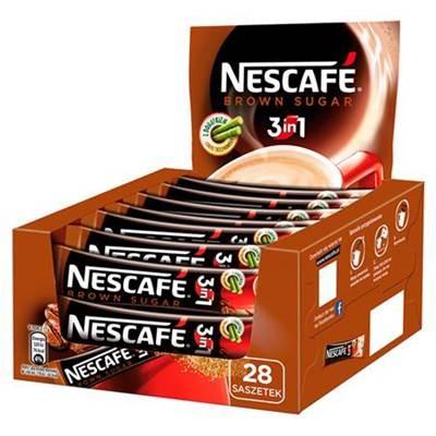 Nescafé 3in1 Brown Sugar lösliches Kaffeegetränk mit braunem Zucker.476 g (28 x 17 g)
