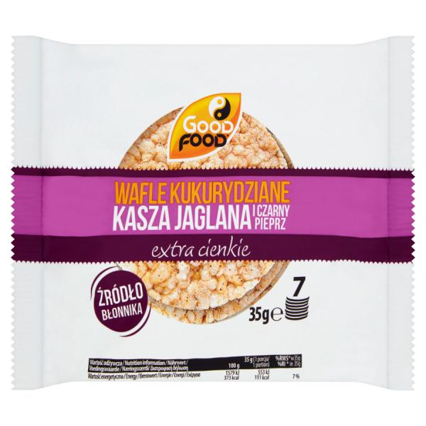 Good Food Wafle kukurydziane kasza jaglana i czarny pieprz 35 g (7 sztuk)
